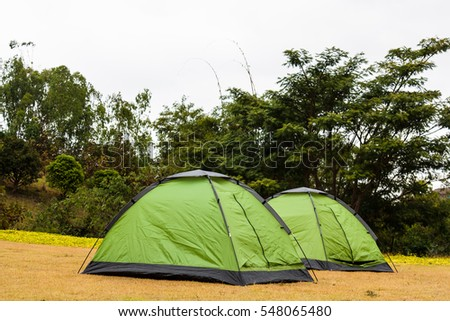 Tent and Camping on ground garden
