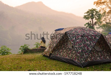 Tent and pavilion camping in campground at national park - stock photo