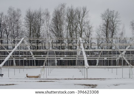 Tent at a construction site in winter