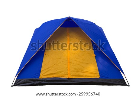 Tent blue and yellow on a white background. - stock photo