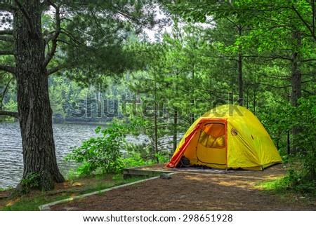 Tent Campsite, Voyageurs National Park, Minnesota - stock photo