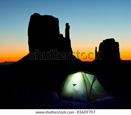 Tent in Monument Valley at night