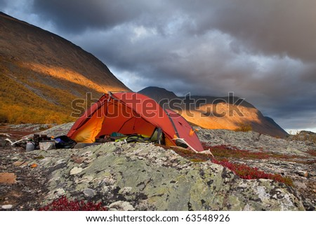 tent in the wilderness of Laponia - stock photo