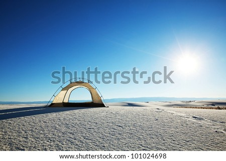 tent in White Sands Park in USA - stock photo