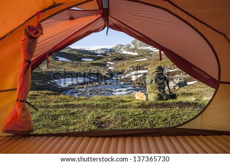 Tent Lookout at a hiking Tour - stock photo