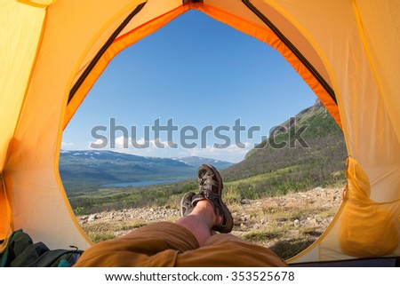Tent lookout on the Kungsleden - stock photo