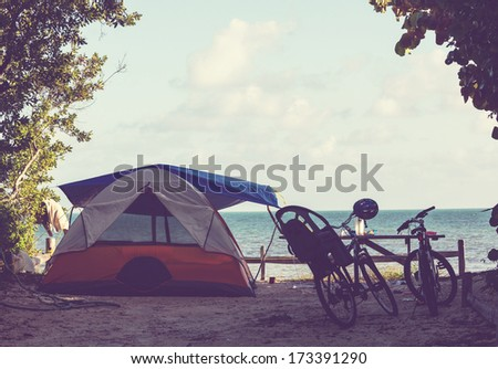 Tent on the beach - stock photo