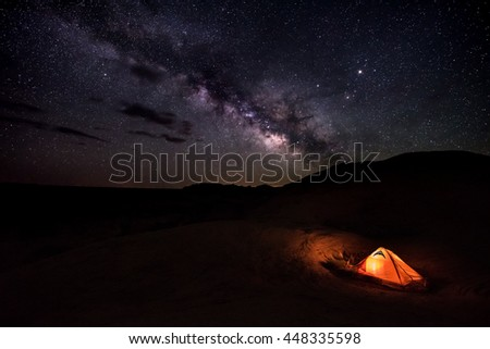 Tent under the Milky Way Reflection Canyon Utah USA Landscapes at Night