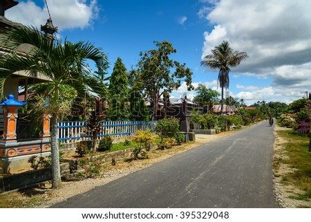 Tentena, Indonesia - Dec 12, 2015: Balinese village. Tentena is a charming small town in Central Sulawesi. The town is next to the serene Lake Poso