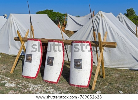 Tents in an ancient Roman military enc&ment - historical reenactment & Tents Ancient Roman Military Encampment Historical Stock Photo ...