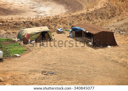 Tents in Lebanese mountains for the homeless refugees and Bedouins.