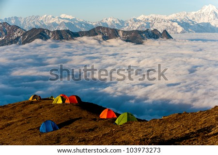 tents settled on a mountain