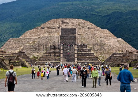 TEOTIHUACAN, MEXICO - JUNE 25: Pyramid of the Moon on JUNE 25, 2014 in Teotihuacan, Mexico. Teotihuacan is an enormous archaeological site in the Basin of Mexico, northeast of Mexico City.