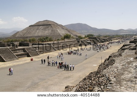 """TEOTIHUACAN, MEXICO - MARCH 29: """"Avenue of the Dead"""" in Teotihuacan pyramid complex on March 29, 2009 in Teotihuacan, Mexico. It's is a huge archaeological site with extensive pre-Columbian pyramidal structures. - stock photo"""