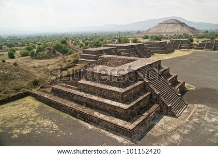 Teotihuacan. Ruined pyramid temples are now a major archaeological and tourism site near Mexico City DF - stock photo