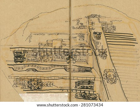 Teotihuacan Temple of the Feathered Serpent, Mexico. Historical archeological site hand drawing. Travel sketch on paper in art scribble style.