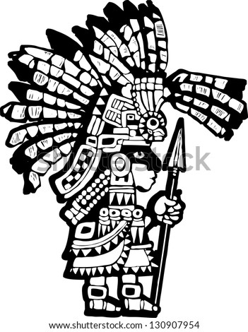 Teotihuacan Warrior rendered in a woodblock print style.