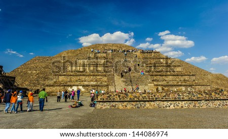 Teotihuacan was a pre-Columbian Mesoamerican city located in the Basin of Mexico, 30 miles (48 km) northeast of modern day Mexico City - stock photo