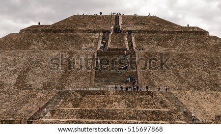 TEOTIUCAN, MEXICO - OCT 27, 2016: Sun Pyramid (Piramide del Sol) of Teotihuacan, it was an ancient Mesoamerican city. UNESCO World Heritage