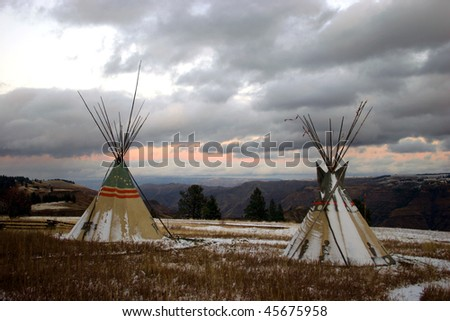 Tepees overlooking Chief Joseph Canyon, Oregon - stock photo
