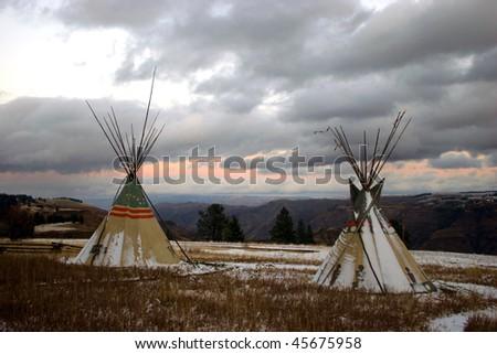 Tepees overlooking Chief Joseph Canyon, Oregon - stock photo