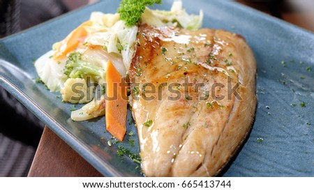 Teppan grilled fish with vegetables
