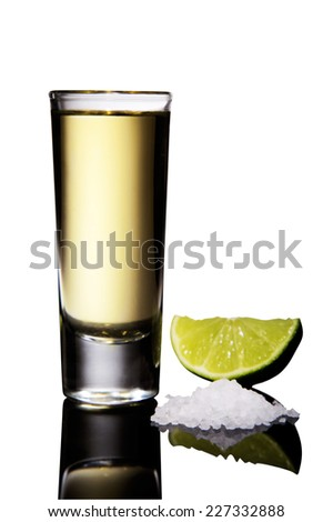 Tequila shot in a mirror isolated on white background - stock photo