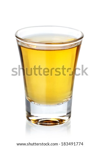 Tequila shot isolated on white background
