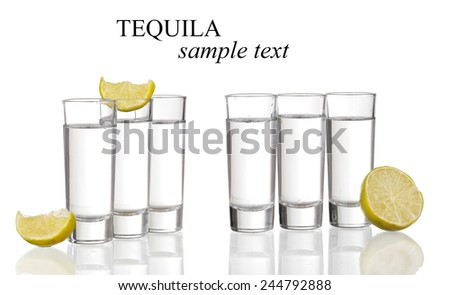 tequila shots with lime isolated on white background (with sample text)