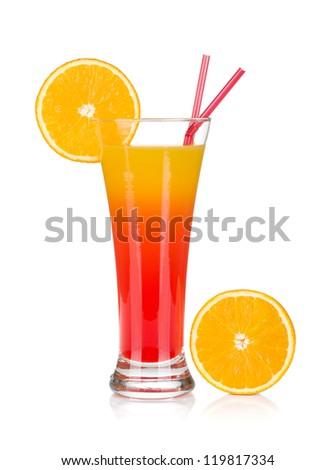 Tequila sunrise cocktail and orange. Isolated on white background - stock photo