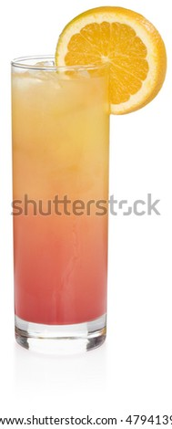 Tequila Sunrise Cocktail - isolated on white - stock photo