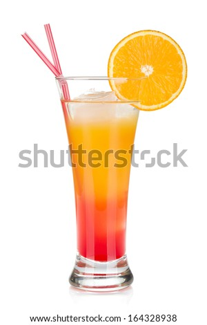 Tequila sunrise cocktail with ice. Isolated on white background - stock photo