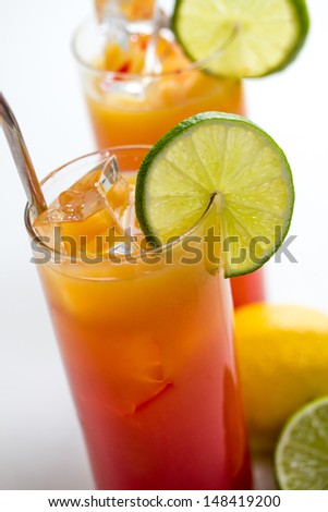 tequila sunrise cocktails - stock photo