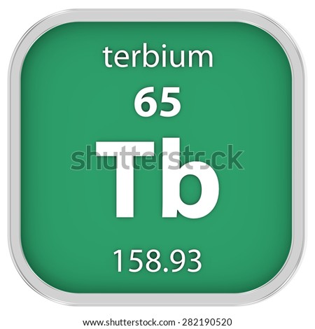 Terbium material on the periodic table. Part of a series. - stock photo