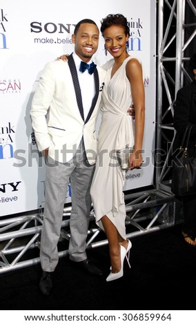 Terence J and Selita Ebanks at the Los Angeles premiere of 'Think Like a Man' held at the ArcLight Cinemas in Hollywood, USA on February 9, 2012. - stock photo