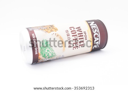 TERENGGANU, MALAYSIA - December 21st, 2015 : Nescafe Ipoh White Coffee by Nestle, a well balanced cup of creamy, authentic and aromatic coffee with a rich layer of foam. -stock photo