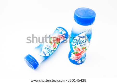 TERENGGANU, MALAYSIA - December 12th, 2015 : A Bliss low fat yogurt drink with real fruit juice produced by Nestle, to give consumers nutrition to smooth out our body system. -stock photo