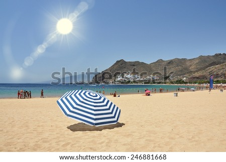Teresitas beach of Tenerife island. Canaries - stock photo