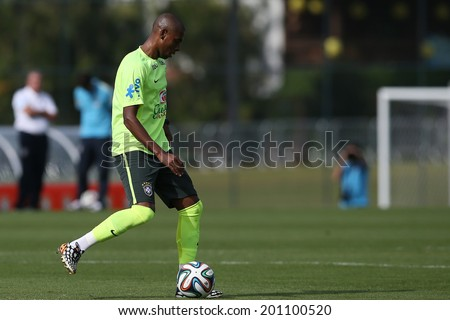 TERESOPOLIS, BRAZIL - June 26, 2014: Ramires seen on a training session in Granja Comary during the FIFA World Cup 2014 in Brazil. No Use in Brazil.