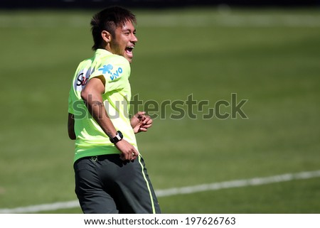 TERESOPOLIS, BRAZIL - May 31, 2014: Brazil Forward Neymar practicing at Granja Comary training center in preparation for the 2014 World Cup soccer tournament. No Use In Brazil.