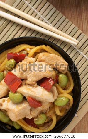 Teriyaki Chicken With Egg Noodles Edamame And Red Peppers