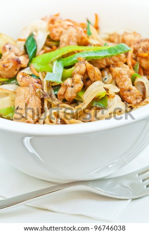 Teriyaki chicken with noodles and spring onions made in wok and served in a white bowl - stock photo