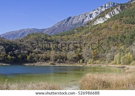 Terlago Lake - idyllic small mountain lake situated in the province of Trentino