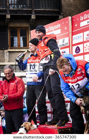 TERMIGNON, VANOISE, FRANCE - JANUARY 20 2016 -Podium Remy COSTE the winner of the GRANDE ODYSSEE the hardest mushers race, the 2nd Jimmy PETTERSSON and 3th named Jean-Philippe PONTHIER, Vanoise, Alps