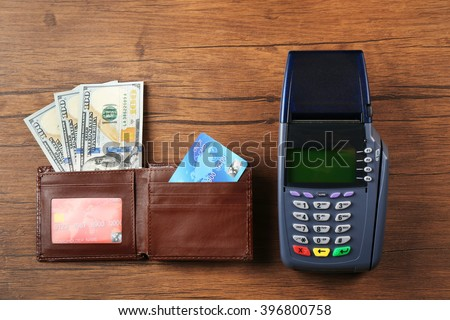 Terminal accessories, flat lay - stock photo