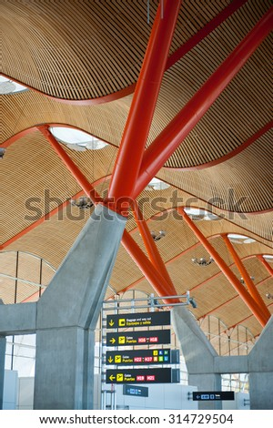 Terminal 4 at Barajas airport in Madrid, Spain  - stock photo