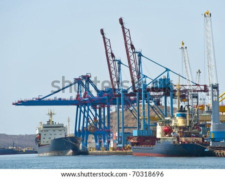 terminal at russian cargo port Vladivostok - stock photo