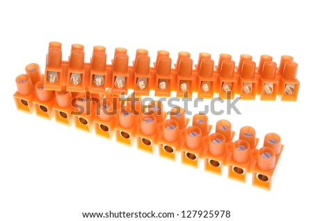 Terminal blocks for electric cables - stock photo