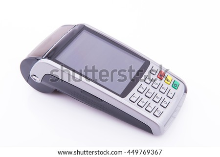 Terminal business for credit card on white background