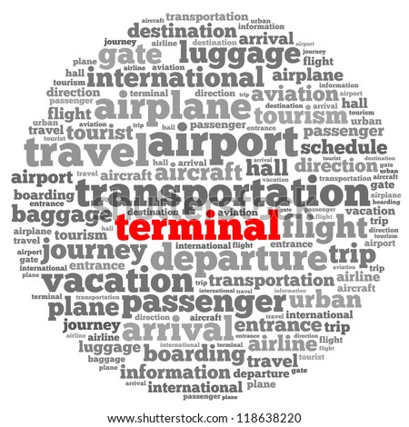 Terminal info-text graphics and arrangement concept on white background (word cloud)